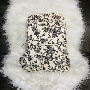 Vintage Black & White Floral Fabric Backpack